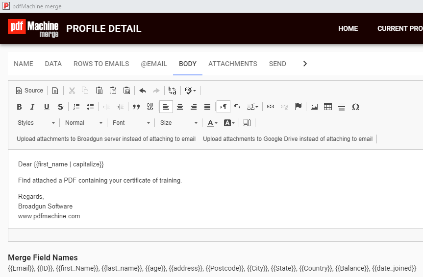 how to send certificates as attached pdf using mail merge
